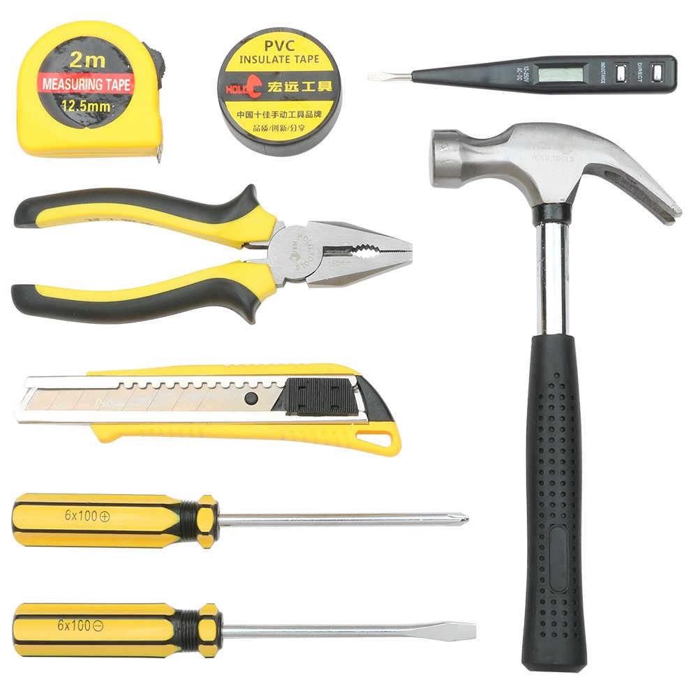 DOWELL Small Homeowner Tool Set 8 Pieces General Household Small Hand Tool Kit with Plastic Tool box Storage Case