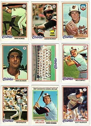 Baltimore Orioles 1978 Topps Baseball Team Set (27 Cards) (Eddie Murray Rookie Card) (Brooks Robinson) (Jim Palmer) (Mark Belanger) (Rick Dempsey) (Ken Singleton) (Scott McGregor) (Doug - Jim Palmer Baseball