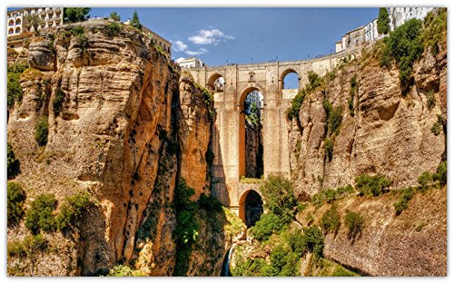 (ronda-andalusia-spain-aqueduct-bridge-arch-rock travel sites Postcard Post card )