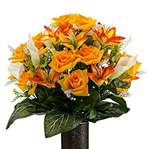 Rubys Silk Flowers Orange Rose and Sunset Tiger Lily Mix, Artificial Bouquet, Featuring The Stay-in-The-Vase Design(c) Flower Holder (MD2071) 36