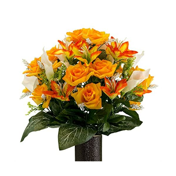 Orange-Rose-and-Sunset-Tiger-Lily-mix-Artificial-Bouquet-featuring-the-Stay-In-The-Vase-Designc-Flower-Holder-MD2071