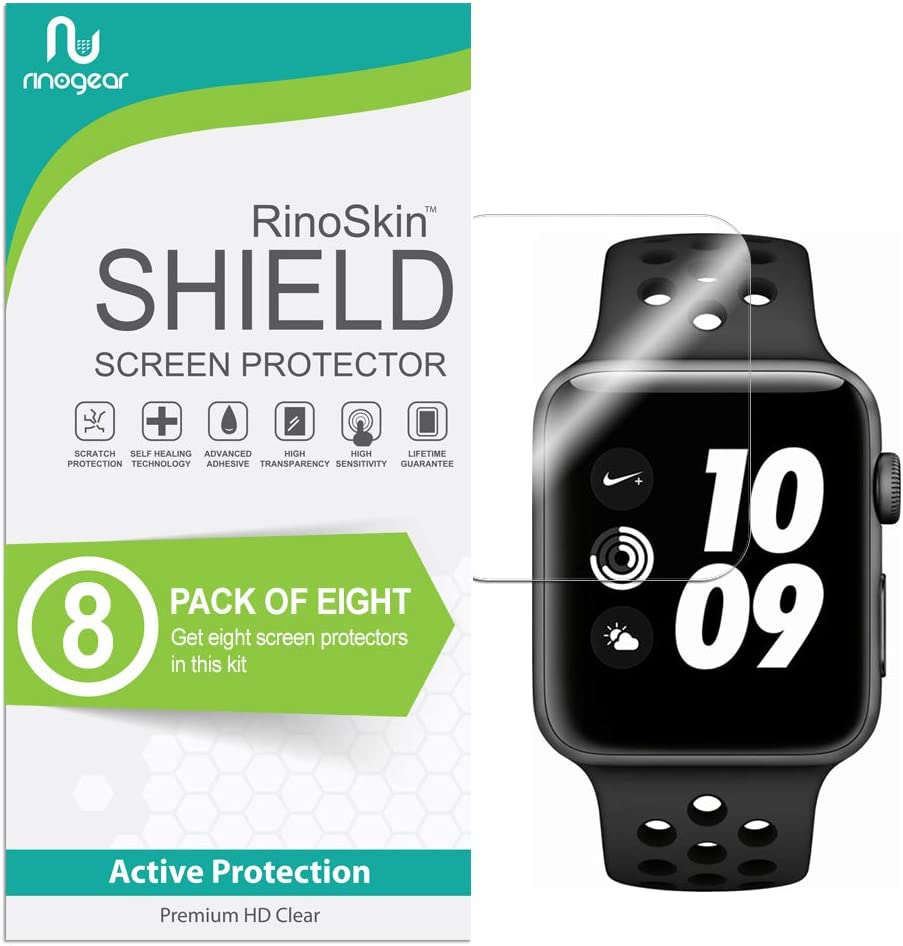 (8-Pack) Apple Watch 42mm Screen Protector (Series 3 2 1) RinoGear Case Friendly iWatch Screen Protector for Apple Watch Series 3 42mm Accessory Clear Film