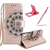 Rope Leather Case for Sony Xperia XA1 Ultra,Strap Wallet Case for Sony Xperia XA1 Ultra,Herzzer Bookstyle Classic Elegant Mandala Flower Pattern Stand Magnetic Smart Leather Case with Soft Inner for Sony Xperia XA1 Ultra + 1 x Free Pink Cellphone Kickstand + 1 x Free Pink Stylus Pen - Rose Gold