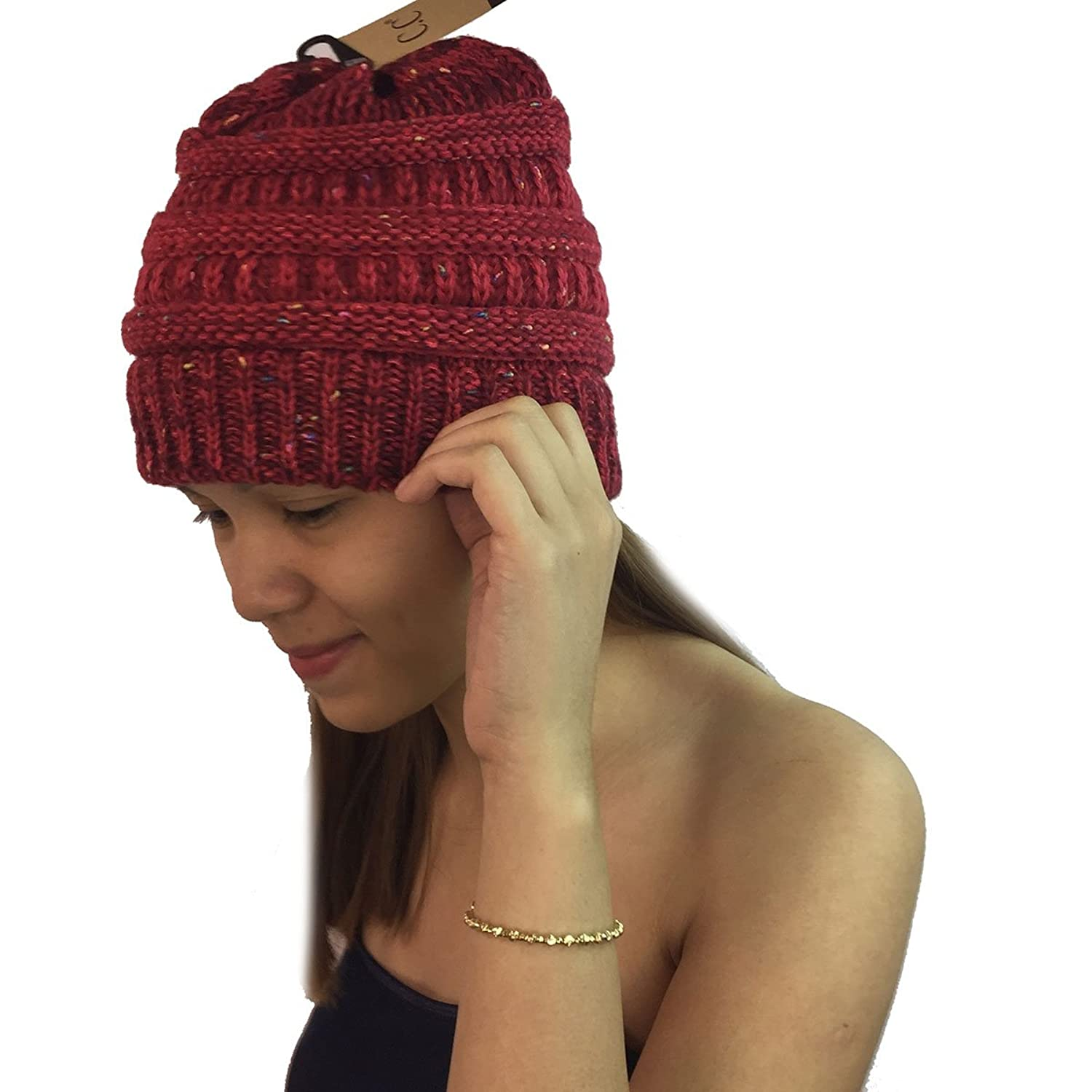 Unisex Trendy Two Tone Warm Cable Knit Thick Beanie Caps Soft Stretchy Winter Hats