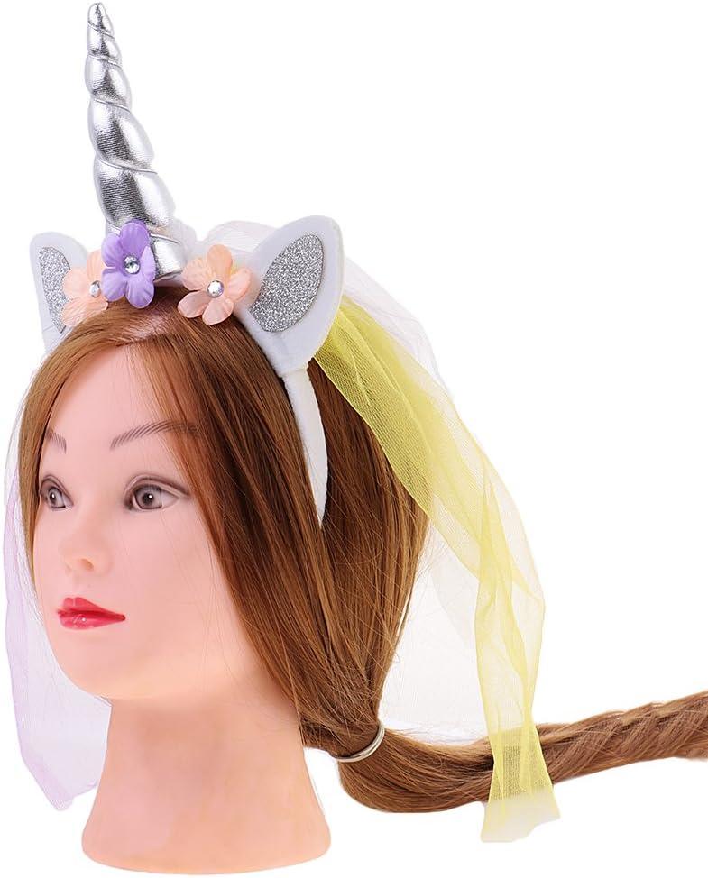 Einhorn Haarreif Schleier Kopfschmuck für Halloween Party