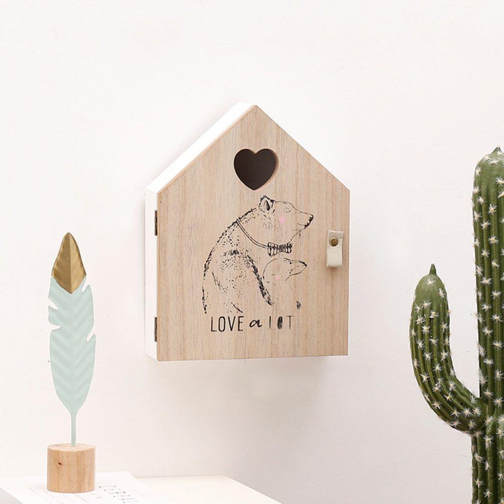 Chenyu armadietto portachiavi, orso chic in legno chiave scatola portaoggetti da parete, decorazione casa, decorazione da parete creativo modello Key box, porta di ingresso decorazione da parete, in legno con mensola 19.5*25*6 cm