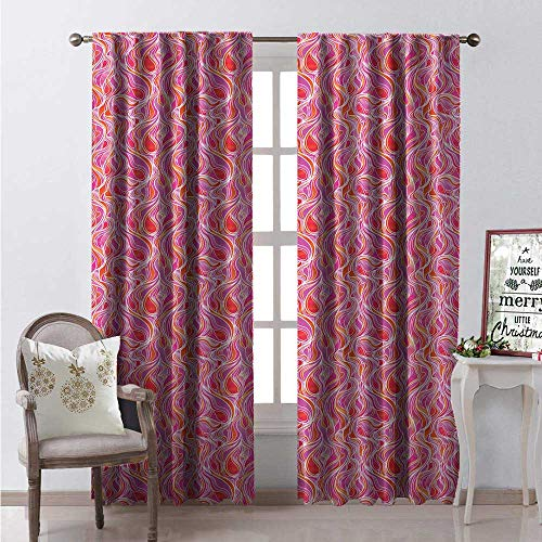 Hengshu Abstract Blackout Window Curtain Different Wavy Pattern Stained Glass Effect Pink and Orange Tones Swirls Customized Curtains W120 x L108 - Gators Stained Glass Florida