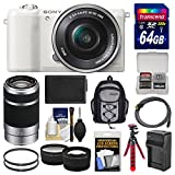 Sony Alpha A5100 Wi-Fi Digital Camera & 16-50mm (White) with 55-210mm Lens + 64GB Card + Backpack + Battery/Charger + Tripod + Tele/Wide Lens Kit