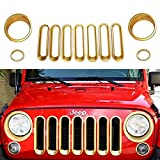 Opar Golden Front Grille Mesh Insert & Headlight Bezel & Turn Signal Cover for Jeep Wrangler Rubicon Sahara Jk 2007-2017