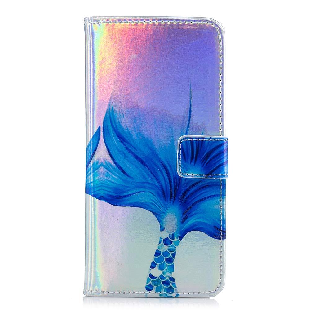 Rose Samsung Galaxy J4 2018 H/ülle YYX Galaxy J4 Schutzh/ülle Premium PU Leder Brieftasche Flip Tasche Farbverlauf Bunt Kratzschutz Lederh/ülle