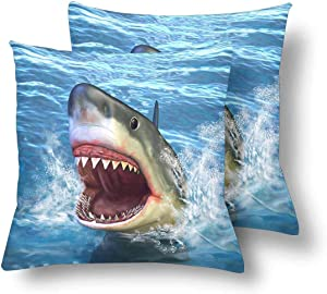 SPXUBZ Great White Shark Jumping Out of Water with Its Open Mouth Pillow Cover Home Decor Nice Gift Square Indoor Pillowcase Set of 2 (Two Sides)