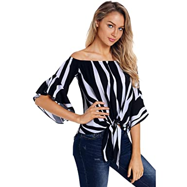 37a09895f65 HAWEE Women's Summer Vertical Stripes Bell Sleeve Off Shoulder Casual  Chiffon Blouse Tops