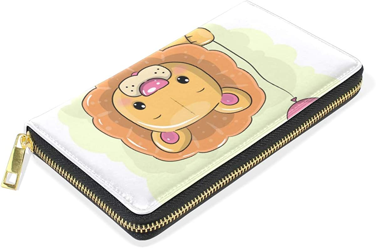 Cartoon Lion Balloon Wallet Real Leather Purse Credit Card Holder for Women Phone Girl