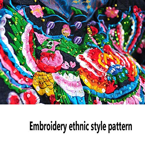 FFYUYI etnisk stil broderad axelväska, dam hög kapacitet kanvas väskor