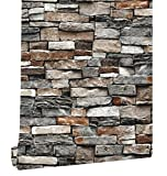 HaokHome 221303 Vintage Faux Brick Wallpaper Rolls Dark Grey Rust Stone Stacked Photo Paper Murals Home Kitchen Bathroom Wallpaper Decoration 20.8'' x 374''
