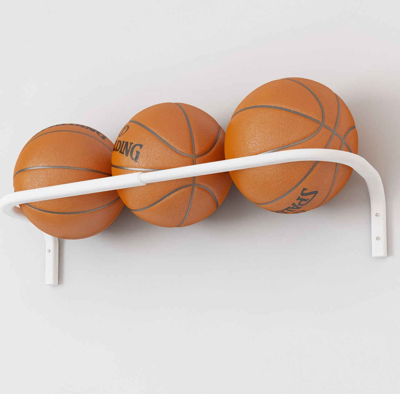 Wall Mount Basketball Ball Rack Storage Bar Adjustable Fits up to 3 Balls BGT