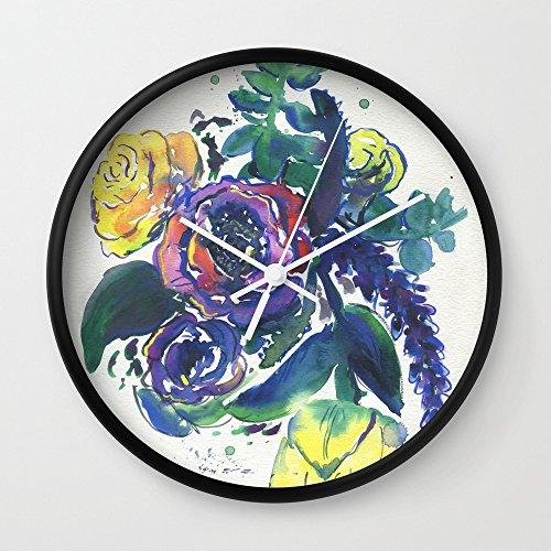 Society6 Feeling Violet Wall Clock Black Frame, White (Elaine Wall Clock)