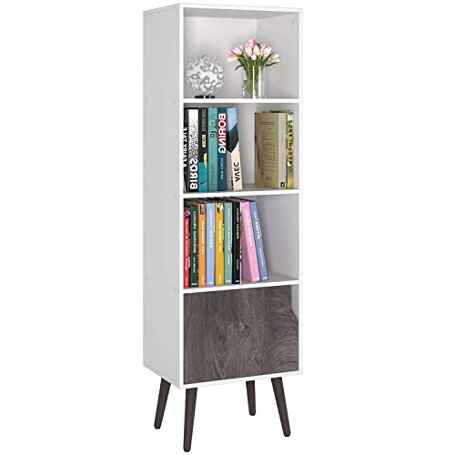 Homfa 4 Tier Floor Cabinet, Free Standing Display Bookshelf with 4 Legs and 1 Door, Side Corner Storage Cabinet Decor Furniture for Home Office, White and Wood Grain