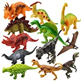 Dinosaur Toys for Toddlers Boys Girls - 8'' Educational Realistic Dinosaur Figures with Dinosaur Book Including T-rex, Triceratops, Velociraptor, etc. Great Gift Set and Party Favors for Kids (12 Pack)
