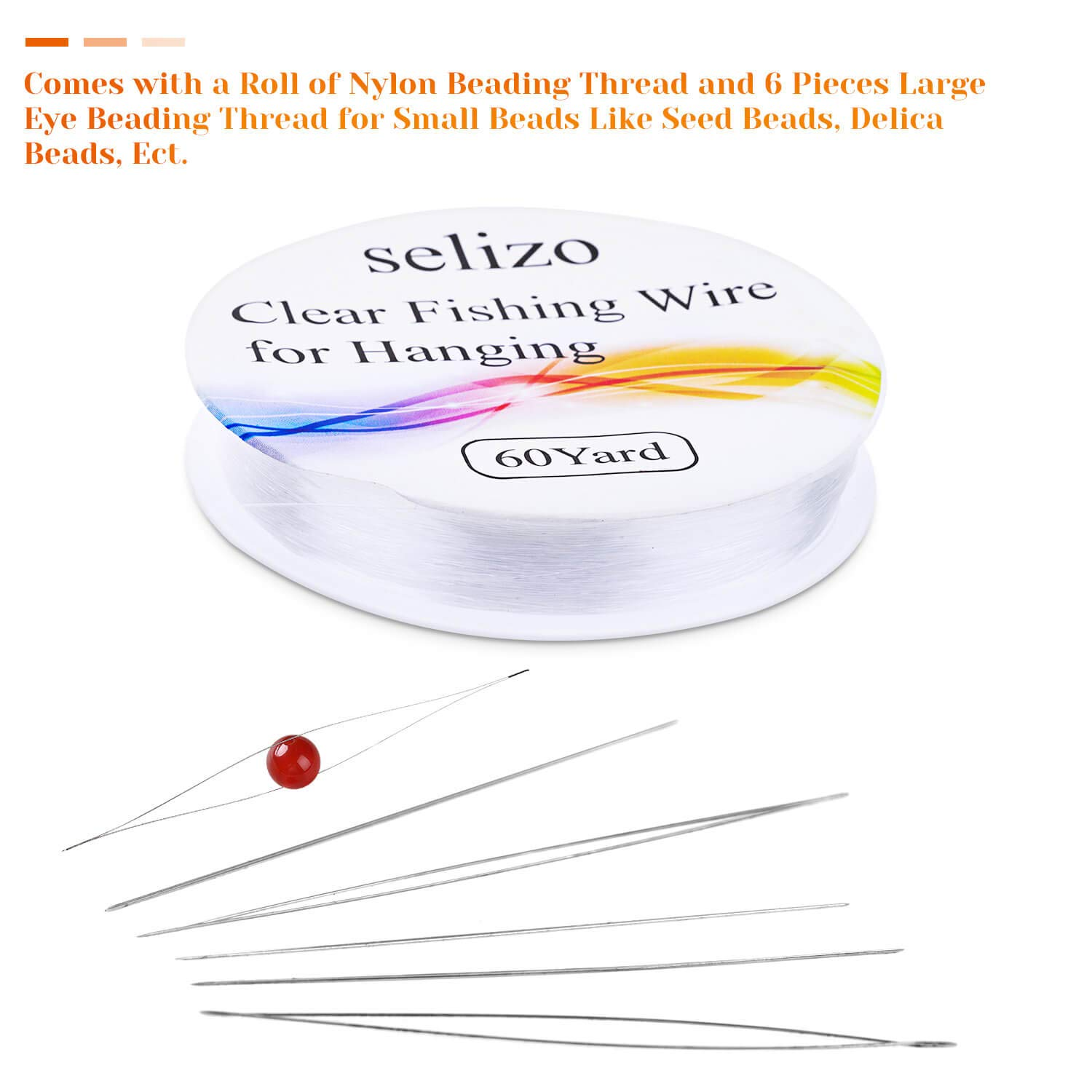 Beading Needles with Fishing Wire Selizo 6pcs Big Eye Beading Needles with a Roll of Clear Fishing Line Jewelry String Invisible Nylon Thread for Beading Jewelry Making and Crafts