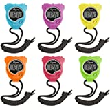 Champion Sports Stopwatch Timer Set: Waterproof, HandHeld Digital Clock Sport Stopwatches with Large Display for Kids or Coach - Bright Colored 6 Pack