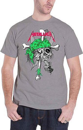 Metallica T Shirt Fluo Pirate Skull Band Logo Oficial de los hombres nuevo Gris: Amazon.es: Ropa y accesorios