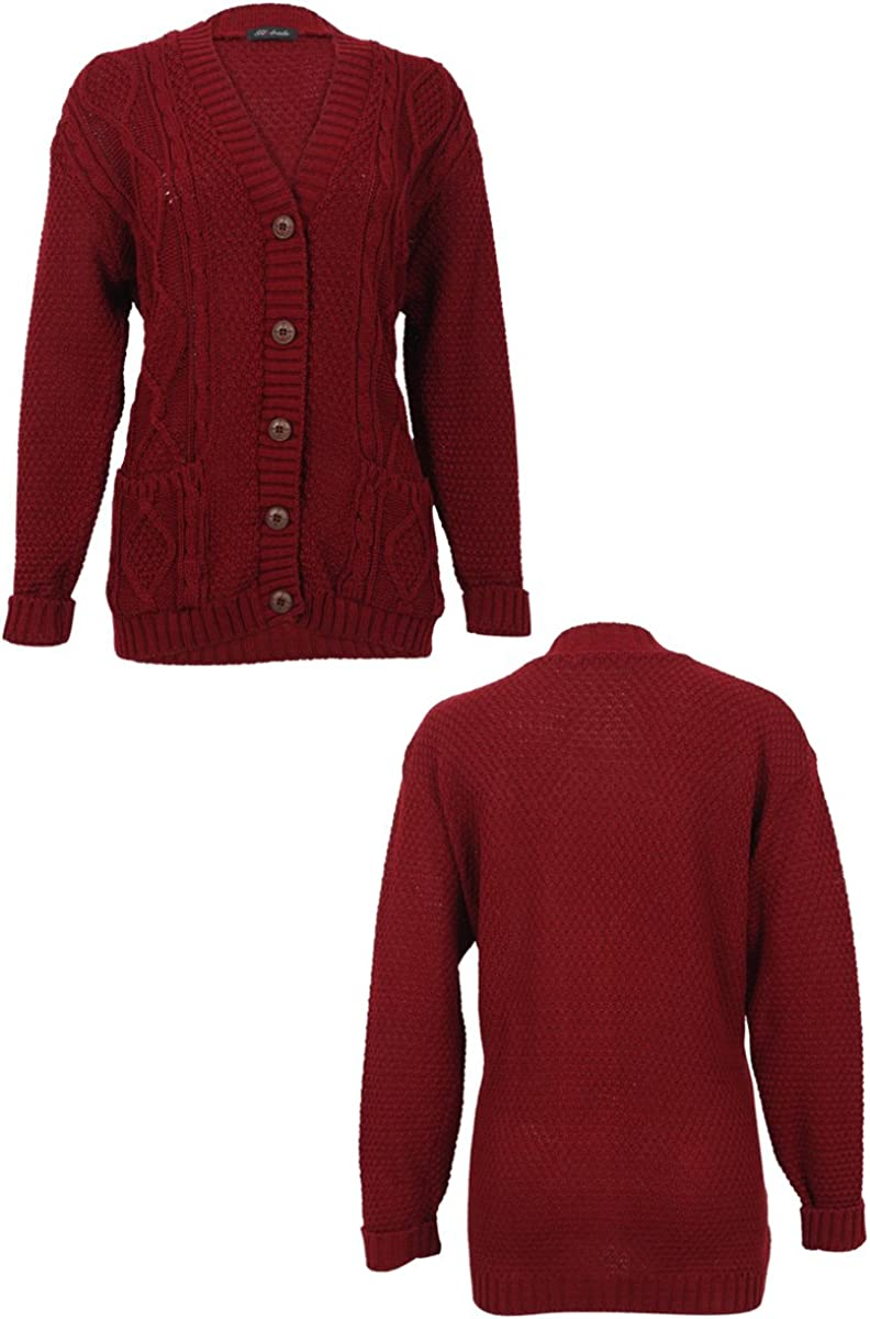 52I New Womens Casual Chunky Knitted Aran Button Up Ladies Cardigan