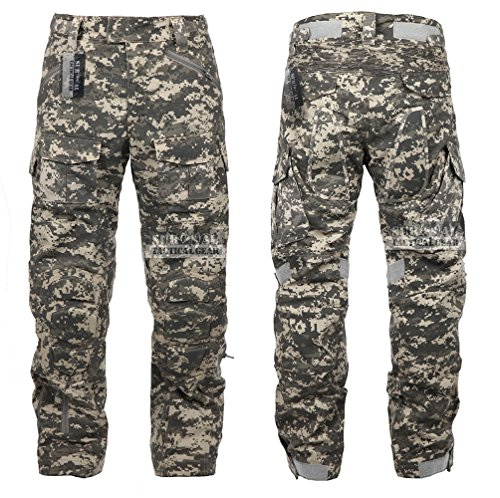 Tactical Combat Pant Hiking Hunting Airsoft SWAT Military Camo Army Trousers Wearproof Ripstop Pants with Knee Pads (ACU, 34)