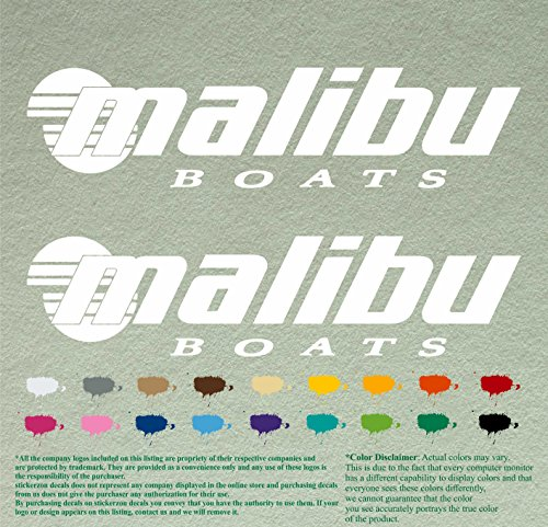 Pair Of Malibu Boats Outboards Decals Vinyl Stickers Boat Outboard Motor Lot Of 2  12   White 010