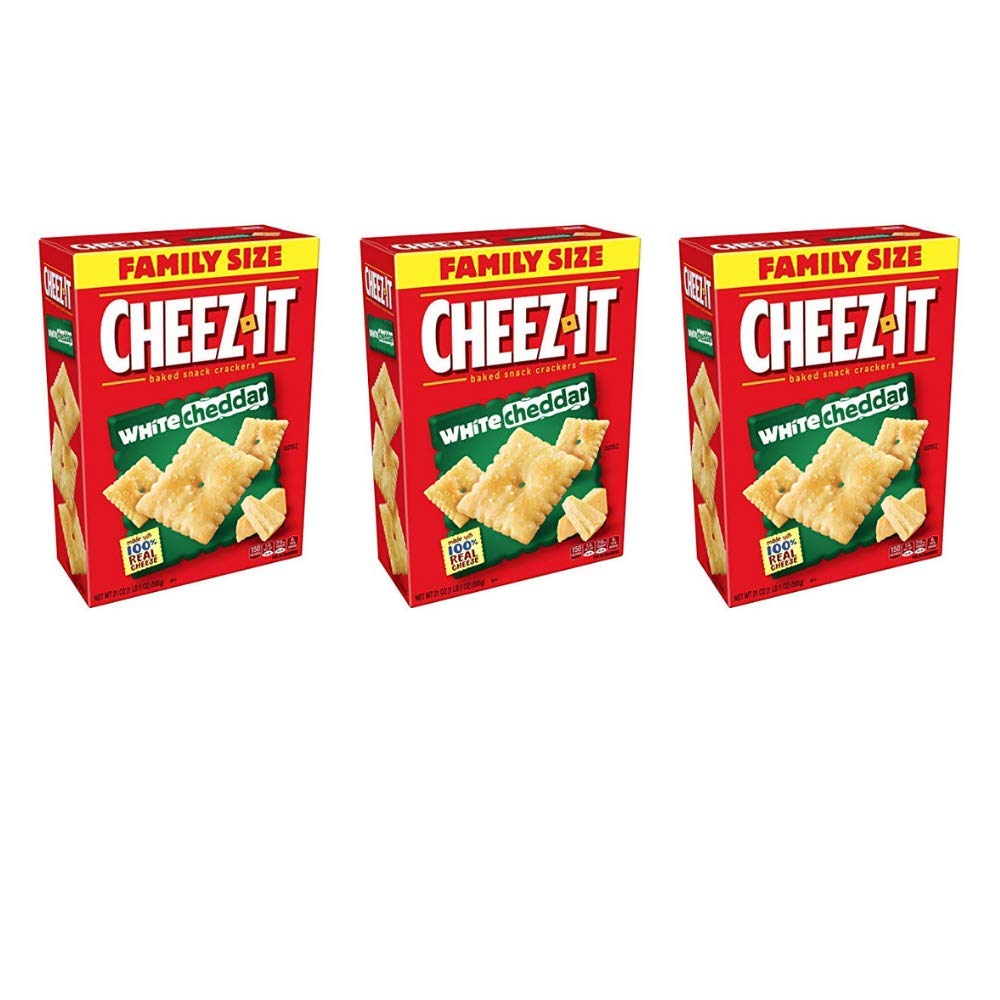 Cheez-It Baked Snack Cheese Crackers, White Cheddar, Family Size, 21 oz Box - Pack of 3 by Cheez-It