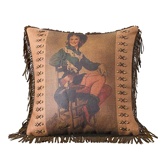 Sitting Cowgirl Vintage Look Printed Faux Leather Pillow with Fringe