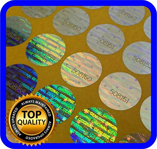 (360 pcs Hologram labels with serial numbers, warranty stickers seals round .59 inch)