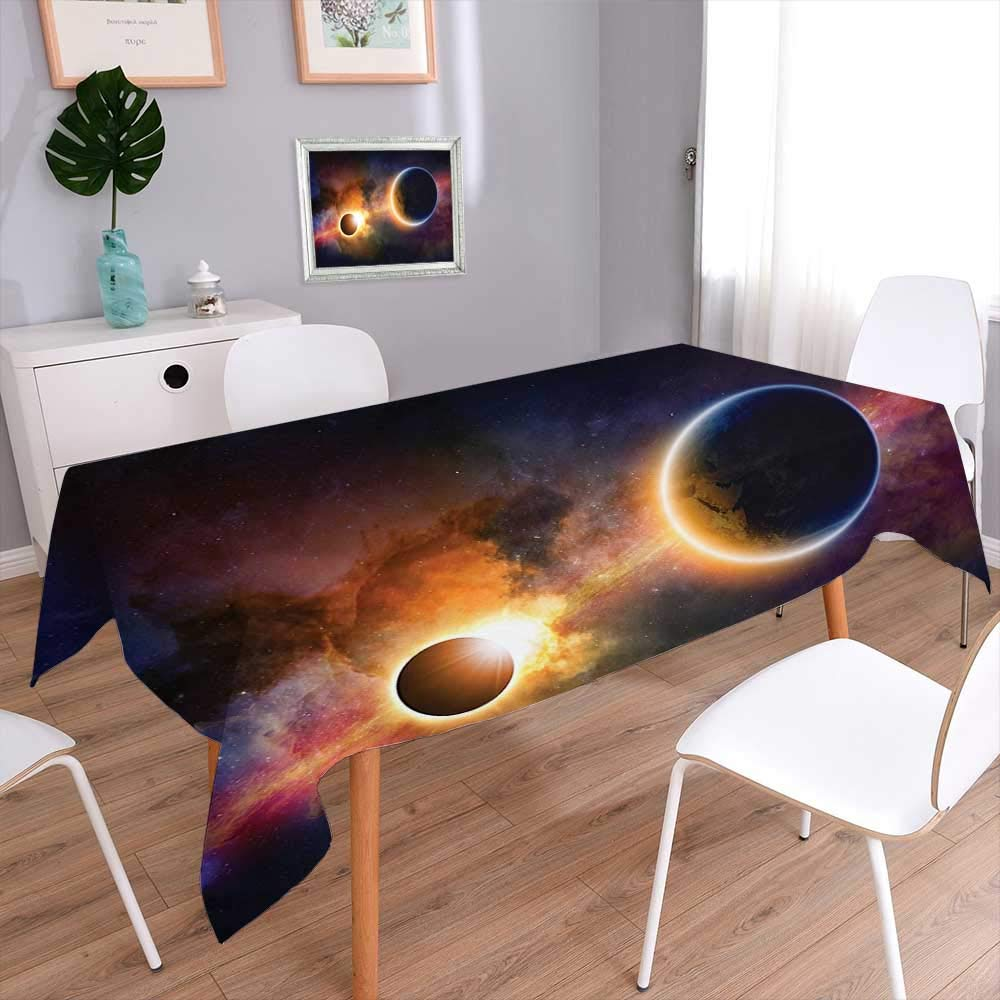 L-QN Decorative Square Tablecloth Decor Planet in Milky Way Dark Nebula Gas Cloud Celestial Solar Eclipse Galaxy Tablecloth Stain Resistant 60''x84''