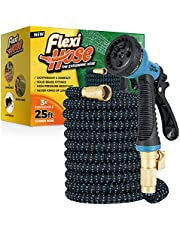 """Flexi Hose Extra-Strong Expandable Garden Hose, 3/4"""" Solid Brass Fittings - No-Kink Flexible Water Hose with 8 Function Sprayer"""