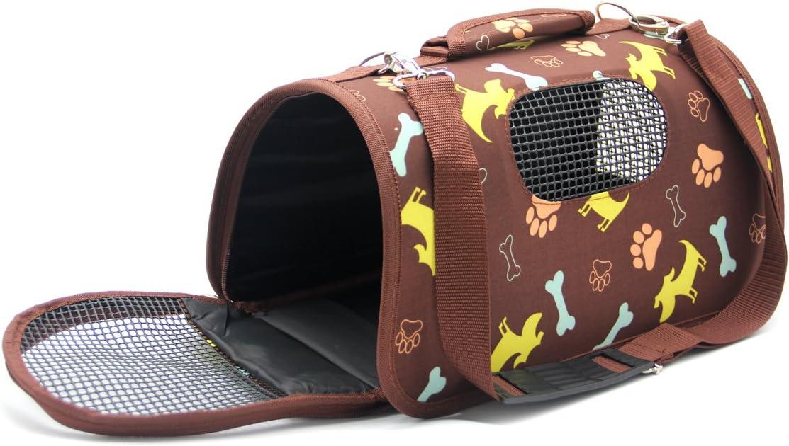 BPS Transportín Portador Bolsa Bolso de Tela para Mascotas Perros Gatos Animales Transportadoras 3 Tamaños S/M/L Diferente Colores para Elegir (M, Marron) BPS-5637M