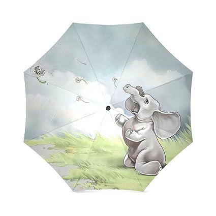 Diseño Coold marca nuevo paraguas lluvia Cute elefante impreso Auto plegable paraguas para primavera/verano