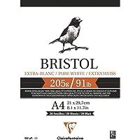 Bloco de Papel Desenho Bristol A4 205G/M² CLAIREFONTAINE, Branco
