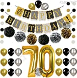 70 yr old birthday - Vintage 70th BIRTHDAY DECORATIONS PARTY KIT -Black Gold and Silver Paper PomPoms| Latex Balloons | Gold Number 70 Ballon | Circle Garland | 70th Birthday Balloons | 70 Years Old Birthday Party Supplie