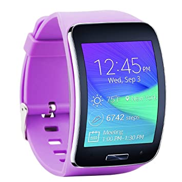 Fit-power Samsung Galaxy Gear S R750 Pulsera de repuesto de reloj inteligente inalámbrico con hebilla de seguridad, morado: Amazon.es: Deportes y aire libre