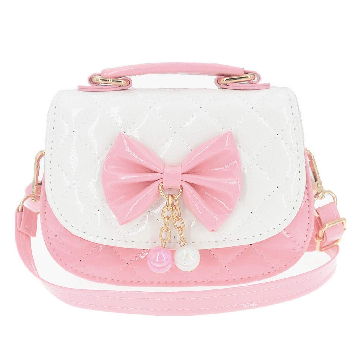 JUNOAI Little Girls Crossbody Purses for Kids - Toddler Mini Cute Princess Handbags Shoulder Messenger Bag Toys Gifts (Bowknot Pink&White)