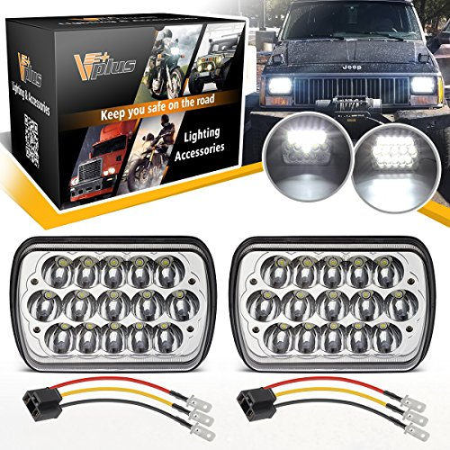 (Vplus 45w 5x7 7x6 Led 7x6 Headlights Rectangle H6054 Led Hi/Low Beam H4 Plug Headlamp Replacement for H6054 H5054 H6054LL 69822 6052 6053 & H4 9003 HB2 Wire Harness (Pack of 2))
