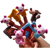 8pcs Animal Finger Puppet, Oyedens 3 Little Pig Story Finger Puppet Plush Toys