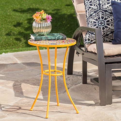 Brienne Outdoor Yellow Ceramic Tile Side Table with Iron Frame (Frame Iron Table)