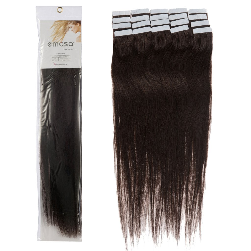Amazon Emosa 18 Inch 02 Dark Brown Tape In Premium Remy Human