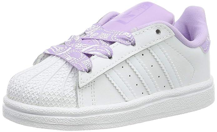 adidas Superstar Sneakers Baby Schuhe Unisex Weiß mit Lila Schnürsenkeln