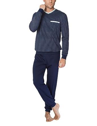 Calida Herren Zweiteiliger Schlafanzug Anthony Pyjama mit Bündchen,  Mehrfarbig (Dark Blue 449),