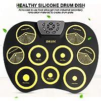 QStyel Portable Electric Drum Set Include Drum Sticks Pad Headphone Jack Built-in Speaker