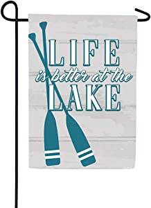 Custom Decor Life is Better at The Lake - Garden Size, Decorative Double Sided, Licensed and Copyrighted Flag - Printed in The USA Inc. - 12 Inch X 18 Inch Approx. Size