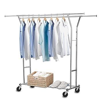 Nex ropa accesorio de ajustable con ruedas acero inoxidable colgador de ropa de grado comercial rustless: Amazon.es: Hogar