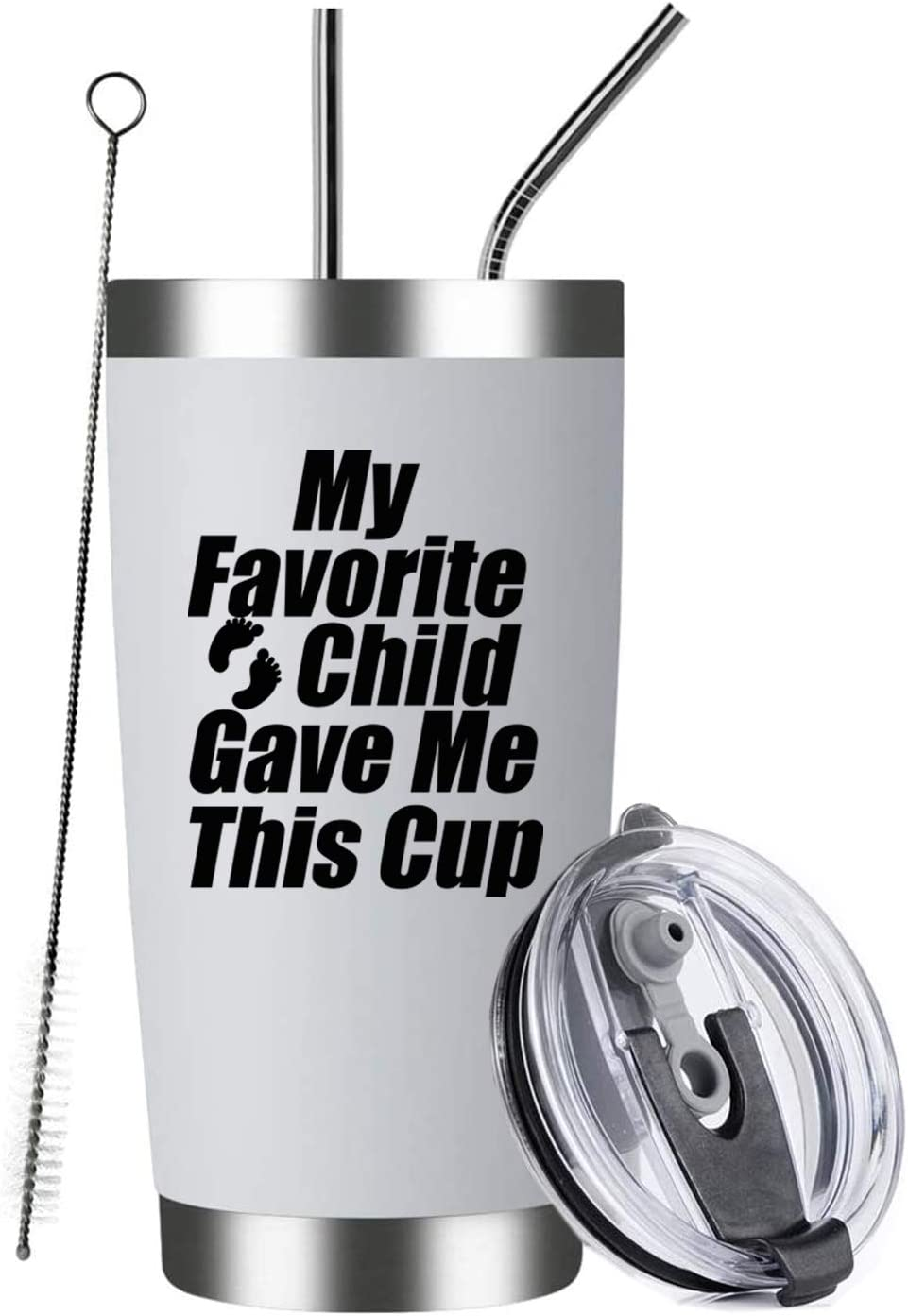 Amazon Com My Favorite Child Gave Me This Cup 20oz White Insulated Stainless Steel Tumbler For Mom Dad Birthday Mothers Fathers Day Christmas Ideas From Daughter Son Kids Moms Dads